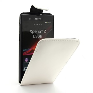 Glossy Leather Vertical Flip Case for Sony Xperia Z C6603 L36h Yuga - White