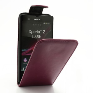 Glossy Leather Vertical Flip Case for Sony Xperia Z C6603 L36h Yuga - Red