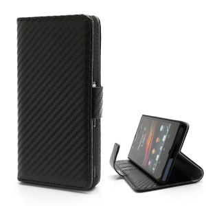 Carbon Fiber Card Holder Leather Cover Stand for Sony Xperia Z C6603 L36h Yuga - Black