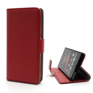 Carbon Fiber Card Holder Leather Case Stand for Sony Xperia Z C6603 L36h Yuga - Red