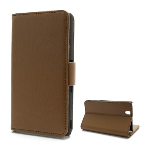 Wallet PU Stand Leather Magnetic Case Cover for Sony Xperia Z C6603 L36h Yuga - Brown