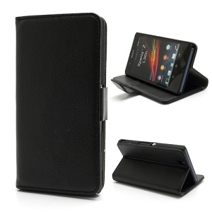 Wallet PU Stand Leather Magnetic Case Cover for Sony Xperia Z C6603 C6602 L36h HSPA+ LTE - Black