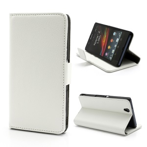Wallet PU Stand Leather Magnetic Case Cover for Sony Xperia Z C6603 C6602 L36h HSPA+ LTE - White
