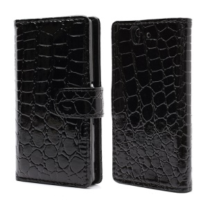 Deluxe Sleek Crocodile Leather Folio Wallet Case for Sony Xperia Z C6603 C6602 L36h HSPA+ LTE - Black