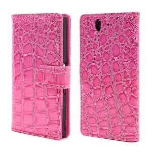 Deluxe Sleek Crocodile Leather Folio Wallet Case for Sony Xperia Z C6603 C6602 L36h HSPA+ LTE - Rose