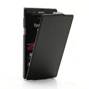 Ultra Slim Litchi Vertical Leather Flip Case for Sony Xperia Z C6603 C6602 L36h HSPA+ LTE - Black