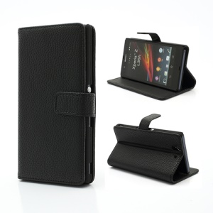 Litchi Leather Stand Case Cover Wallet for Sony Xperia Z C6603 C6602 L36h HSPA+ LTE - Black