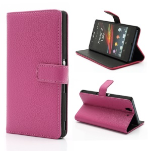 Litchi Leather Stand Case Cover Wallet for Sony Xperia Z C6603 C6602 L36h HSPA+ LTE - Rose
