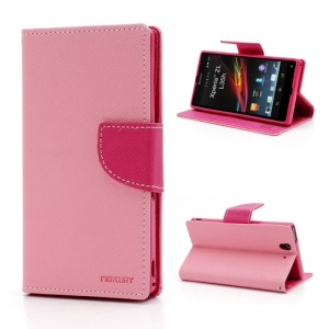 Mercury Cross Leather Wallet Stand Case for Sony Xperia Z C6603 L36h - Rose / Pink