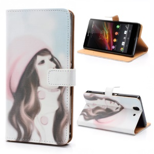 Pretty Girl Wearing Hat Stand Leather Wallet Case for Sony Xperia Z C6603 C6602 L36h HSPA+ LTE