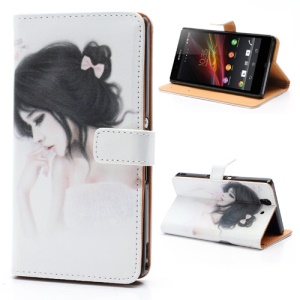Good-Looking Girl Wallet Style Stand Leather Case for Sony Xperia Z C6603 C6602 L36h HSPA+ LTE