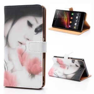 Aesthetic Beauty &amp;amp; Flower Card Slots Leather Case with Stand  for Sony Xperia Z C6603 C6602 L36h HSPA+ LTE