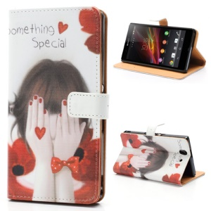 Girl Covering Face with Hands Stand Wallet Leather Case for Sony Xperia Z C6603 C6602 L36h HSPA+ LTE