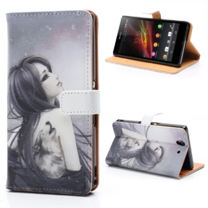 Tattooed Classic Beauty Leather Case w/ Stand &amp;amp; Wallet for Sony Xperia Z C6603 C6602 L36h HSPA+ LTE