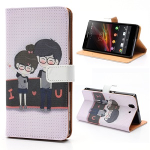 I Love U Boy &amp;amp; Girl Wallet Leather Stand Case for Sony Xperia Z C6603 C6602 L36h HSPA+ LTE