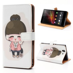 Yeah Lovely Girl Wallet Leather Protective Case Stand for Sony Xperia Z C6603 C6602 L36h HSPA+ LTE