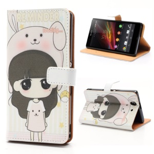 Little Girl Wearing Bunny Hat Leather Case Cover Stand for Sony Xperia Z C6603 C6602 L36h HSPA+ LTE