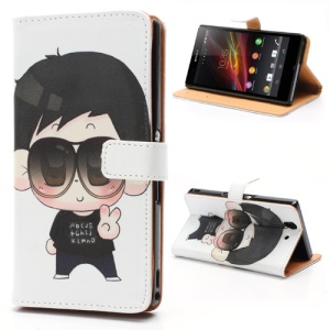 Cartoon Boy Wearing Glasses Stand Leather Phone Case Wallet for Sony Xperia Z C6603 C6602 L36h HSPA+ LTE