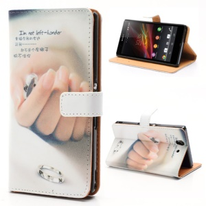 Elegant Hand &amp;amp; Ring Leather Wallet Case with Stand for Sony Xperia Z C6603 C6602 L36h HSPA+ LTE