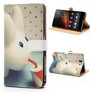 Having A Drink Lovely Bunny Leather Case with Stand &amp;amp; Wallet for Sony Xperia Z C6603 C6602 L36h HSPA+ LTE