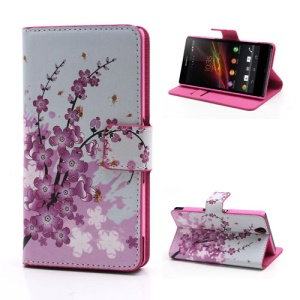 For Sony Xperia Z C6603 C6602 L36h Wallet Card Leather Stand Case Pink Plum Design