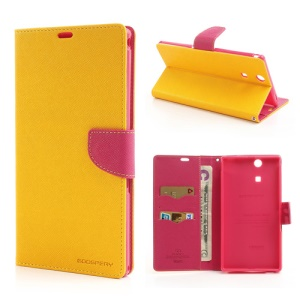 Mercury Goospery Fancy Diary Leather Magnetic Case for Sony Xperia Z Ultra C6806 C6802 C6833 XL39h - Rose / Yellow