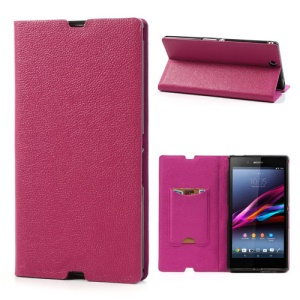 Rose Litchi Skin Genuine Leather Flip Case w/ Stand for Sony Xperia Z Ultra XL39h C6806 C6802