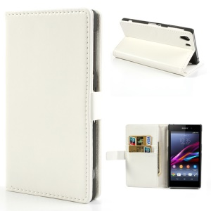 White Crazy Horse Wallet Leather Stand Case for Sony Xperia Z1 Honami C6903 C6902 C6943 L39h