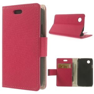 Maze Pattern Cloth Texture Leather Wallet Case w/ Stand for LG L40 D160 - Rose