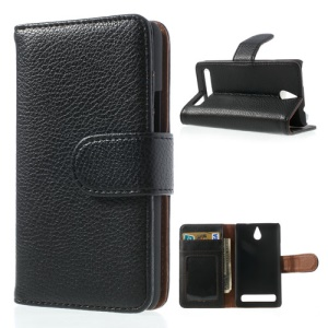 Black Litchi Skin Wallet Leather Card Holder Case for Sony Xperia E1 D2004 D2005 / E1 Dual D2104 D2105 D2114