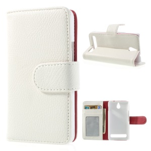 White Litchi Skin Wallet Leather Magnetic Case w/ Stand for Sony Xperia E1 D2004 D2005 / E1 Dual D2104 D2105 D2114