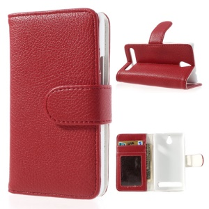 Red Litchi Skin Wallet Leather Magnetic Cover w/ Stand for Sony Xperia E1 D2004 D2005 / E1 Dual D2104 D2105 D2114