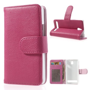 Rose Litchi Skin Wallet Leather Stand Case for Sony Xperia E1 D2004 D2005 / E1 Dual D2104 D2105 D2114