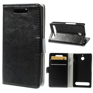 Black Crazy Horse Wallet Leather Stand Case for Sony Xperia E1 D2004 D2005 / E1 Dual D2104 D2105 D2114
