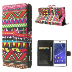 Colorful Aztec Tribe Pattern for Sony Xperia M2 D2303 / M2 Dual D2302 PU Leather Wallet Case
