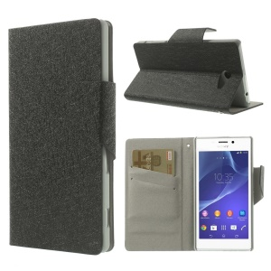 Black Silk Texture Leather Case Card Holder for Sony Xperia M2 Dual D2302 / M2 D2305