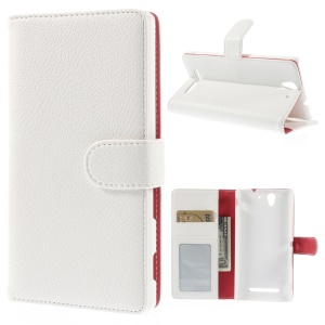 White Litchi Skin Wallet Leather Stand Case for Sony Xperia C3 D2533 / C3 Dual D2502