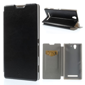 Black Crazy Horse Leather Flip Case w/ Stand for Sony Xperia C3 D2533 / C3 Dual D2502