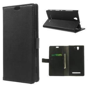 Black for Sony Xperia C3 D2533 / Dual D2502 Litchi Skin Leather Flip Case w/ Card Slots