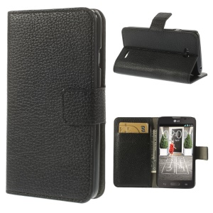 Lychee Grain Leather Wallet Stand Cover for LG L70 D320 D320N - Black