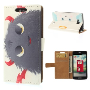 Grey Hairy Doll Magnetic Leather Card Holder Case for LG L90 D405 D405N