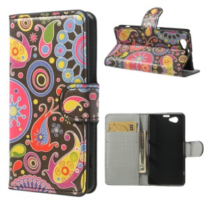 Colorized Pattern Wallet Leather Stand Case for Sony Xperia Z1 Compact D5503