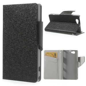Silk Leather Magnetic Stand Cover for Sony Xperia Z1 Compact D5503 - Black