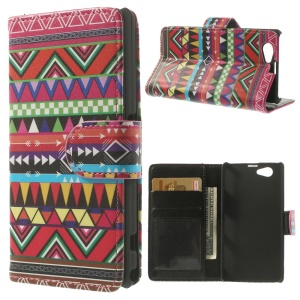 Aztec Tribe Pattern Wallet PU Leather Case w/ Stand for Sony Xperia Z1 Compact D5503