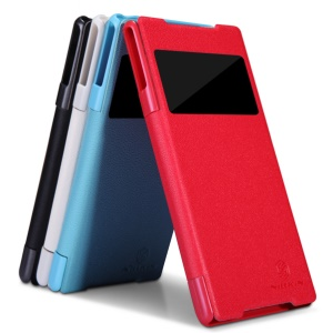 Nillkin Fresh Series for Sony Xperia Z2 D6502 D6503 D6543 Window View Leather Case;Red