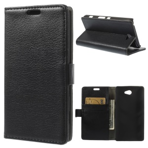 Black Lychee Skin Wallet Leather Stand Case for Sony Xperia Z2a D6563