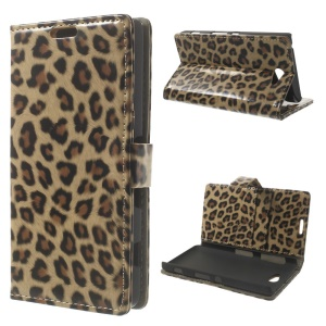 Fashion Leopard Stand Leather Case w/ Card Slots for Sony Xperia Z2a D6563