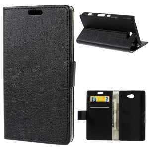 Black Litchi Skin Leather Magnetic Case w/ Card Slots for Sony Xperia Z2a D6563