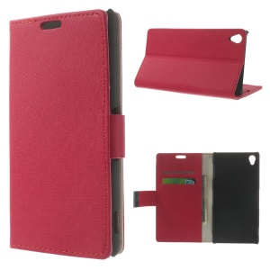 Maze Pattern Leather Wallet Case for Sony Xperia Z3 D6603 D6653 w/ Stand - Red
