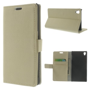 Cloth Texture Leather Wallet Case for Sony Xperia Z3 D6603 D6653 w/ Stand - Beige
